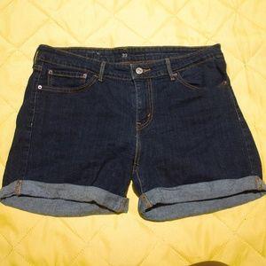 Levi's Rolled Cuff Hem Dark Wash Shorts